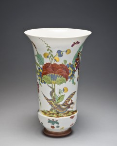"Beaker vase, ca. 1726–1730  Meissen porcelain manufactory Painting attributed to J.E. Stadler (1701–1741)  Marked with AR (""Augustus Rex"") Bequest of Malcolm D. Gutter"