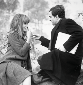 Francoise Dorleac and Francois Truffaut shooting La Peau Douce (Rambouillet).  Copyright Raymond Cauchetier, Courtesty James Hyman Gallery