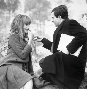 Francoise Dorleac and Francois Truffaut shooting La Peau Douce (Rambouillet).  Copyright Raymond Cauchetier, Courtesty James Hyman Gallery