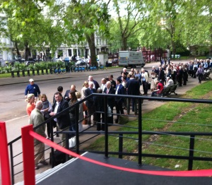 The queue outside Art Antiques London, 2014