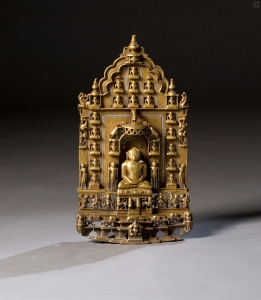 Altarpiece with twenty Jinas, brass inlaid with copper and silver, circa 14th century, 32 cm, Rajasthan or Gujarat, India,  Manuel Castilho.  Courtesy Olympia International Art & Antiques Fair.