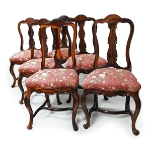 Set of six chairs,  Sri Lanka, Colombo, second half 18th century. Coromandel wood and later upholstery.  Height: 101 cm, width: 52.5 cm, depth: 46.5 cm.  Provenance: Dutch private collection.  Roell Fine Art