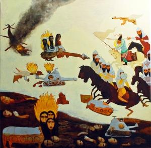 Samira Abbassy Myth of War & Beast of Revelation 2011 oil on canvas 71.1 x 81.3 cm (28 x 32 in)