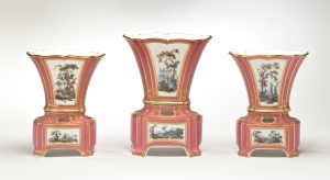 Sevres Garniture of Three Vases Hollandois Nouveaux Ovales, pink ground.  Michele Beiny