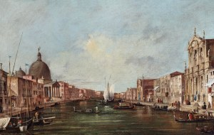 "FRANCESCO GUARDI (attributed artist) Venice 1712 – 1793 Venice: The Grand Canal, looking South-West from the Church of the Scalzi to the Fondamenta della Croce, with the Church of San Simeone Piccolo Oil on canvas | 23 "" x 37 ! in (60.6 x 94.4 cm) Courtesy of Charles Beddington Ltd"