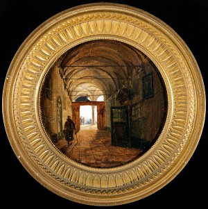 GIOVANNI MIGLIARA Alessandria 1785 – 1837 Milan Corridor leading to a Loggia Oil on Canvas, signed verso 'G Migliara' Diameter 3 ! inches (8cm) Courtesy of Charles Beddington Ltd