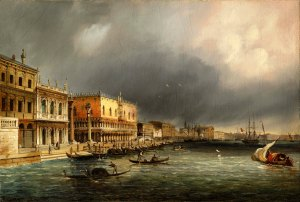 CARLO GRUBACS Perast(o), Montenegro 1801 – Venice 1870 The Molo in a Rainstorm Oil on canvas, signed 'C Grubas' lower left 10 1/2 x 15 5/8 in (27 x 39.7 cm) Courtesy of Charles Beddington Ltd