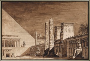 "GIUSEPPE BORSATO Venice 1771 – 1849 Set Design for Rossini's Opera ""Semiramide"", Act 1, Scene 13, Teatro La Fenice, Venice, 1823 Brown ink and wash on off-white paper, signed 'Borsato' lower right; inscribed on the mount 'Scena eseguita nel Gran Teatro la Fenice l'anno 1832/ per l'Opera Semiramide' in upper right corner numbered '10.' 6 x 8 "" in (15.2 x 22.6 cm)  Courtesy of Charles Beddington Ltd"