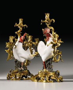 Treasures Sale Sotheby's London, 8 July 2015  A pair of gilt-bronze-mounted Chinese export porcelain cockerel candelabra, the porcelain Qianlong (1736-1795), the mounts Louis XV, with the crown c poinçon, circa 1745-49, attributed to Jacques Caffiéri  (1678-1755), almost certainly acquired by Madame de Pompadour from Lazare–Duvaux on 4th August 1755 for l'Hôtel d'Évreux in Paris each 63cm. high; 2ft. 1in Estimate: £500,000 — 1,000,000