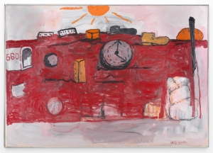 Philip Guston The Hill, 1971 Oil on canvas 57 1/4 x 81 1/2 in. / 145.4 x 207 cm © The Estate of Philip Guston, courtesy Timothy Taylor , London