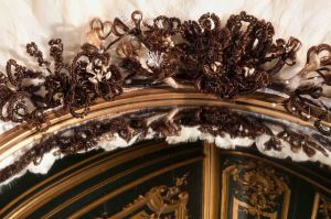 Wildgoose hair mirror Jane Wildgoose, Beyond All Price, detail, 2015; hair-work flowers, feathers, mirror; © Jane Wildgoose; Photographed in the Green Boudoir, Waddesdon Manor by Mike Fear © The National Trust, Waddesdon Manor