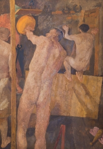 Gymnasium (Athletes – Athletes in a Gymnasium), c. 1934 Oil on board, 163 x 113 cm Private collection