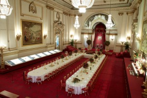 The Ballroom at Buckingham Palace prepared for a State Banquet Royal Collection Trust (c) Her Majesty Queen Elizabeth II, 2015