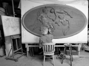 Geoffrey Preston working on a clay model based on a Tintoretto painting of Bacchus, Venus & Ariadne, 2013 © nickcarterphotography.com