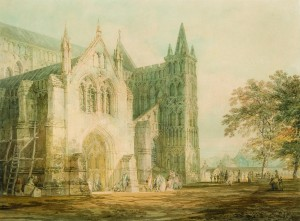 North Porch of Salisbury Cathedral, Exhibited RA 1797 Watercolour JMW Turner © The Salisbury Museum