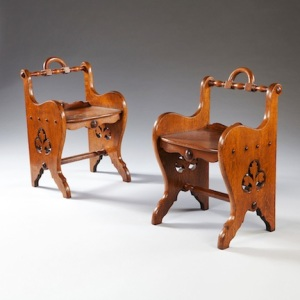 A pair of oak arts and crafts back stools, England, c. 1870, from Thomas Woodham Smith