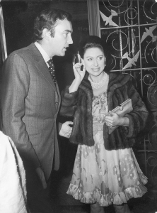 John Donald and HRH Princess Margaret at the opening of the Tecla Pearls exhibition in Bond Street, where HRH Princess Margaret was presented with a gold brooch set with pearls and diamonds. 1970