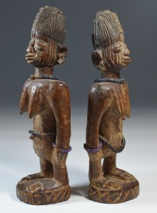 Kenn Mackay Rare pair of Yoruba Ibeji figures Oyo Llorin region early 20th century 29 cm Provenance: ex US collection