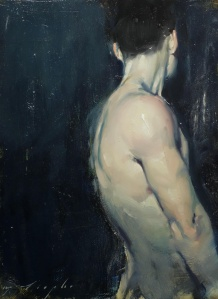 Malcolm Liepke, Turned Back, oil on canvas, 41x30cm, from Albemarle Gallery