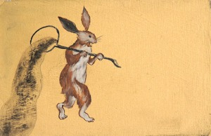 RUI MATSUNAGA Play Rabbit 2012 Oil and acrylic on board 9.5 x 15 cm