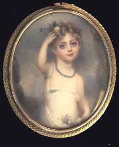 Mrs Anne Mee, A young girl, possibly the artist's own child, watercolour on ivory, from Ellison Fine Arts