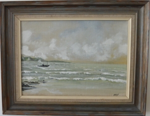 "SAC & Co Ltd Sir Noel Coward 1899–1973 ""Off-shore, Shoreham"" signed oil on canvass board 23cm x 31.5cm Painted c1950."