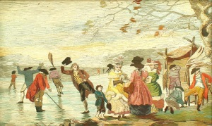 Santiago Ventura Real Rare George III silk-work panel, after a watercolour painting by Julius Ceasar Ibbetson, titled Skaters on the Serpentine, Hyde Park, circa 1790.