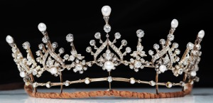 Trivette Silver and gold tiara c.1880 with natural pearls and diamonds, with original box.