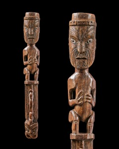 Wayne Heathcote Maori teko-teko gable figure. Ancestor figure atop carved plaque with small ancestor face at the bottom. 96 cm. 19th century, New Zealand.