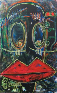 Aboudia Rouge a levres, 2015 Acrylic & oil pastel on canvas 150 x 94 cm (01668) Image courtesy Jack Bell Gallery, London.