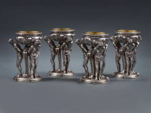An outstanding and exceptionally rare set of four silver William IV figural salt cellars by Paul Storr - London 1832 These are of the highest quality in every aspect, as one would certainly expect from the best pieces made by Paul Storr during this period. Total weight approximately 128oz troy Height 6 1/4in (15.75cm); diameter :4 1/2in (11.5cm).