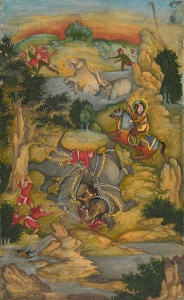 A Vision of an Elephant Hunt Attributed to the artist Mir Kalan Khan Lucknow, India, circa 1760 Opaque watercolour and gold on paper 21.5 x 13.2 cm