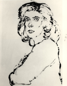 Avigdor Arikha Catherine Deneuve 1984 Sugar-lift aquatint plate 46.5 x 34.5 cm Courtesy the Artist's Estate and Marlborough Fine Art, London