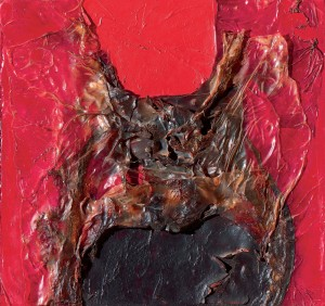 Alberto Burri Nero Rosso Combustione, 1964 Plastic, acrylic, wood, vinavil and combustion on cellotex 28 x 29.5 cm Courtesy of Mazzoleni Art, PAD London 2015