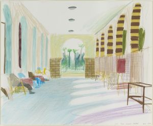 David Hockney b.1937 The Luxor Hotel, 1978 coloured crayon on paper 14 x 16 7/8 inches 35.5 x 43 cm © David Hockney