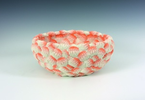 Hitomi Hosono A Large Orange Coral Bowl, 2014 Moulded, carved and hand-built coloured porcelain H.15.5 Dia.34cm (H.6 1 / 8 Dia.13 3 / 8in)