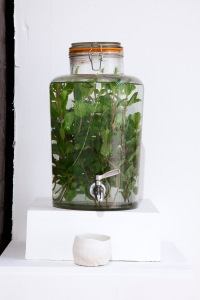William Martin, Help Yourself, 2015, glazed ceramics on shelves with mint water demijohn, dimensions variable (Florence Trust)
