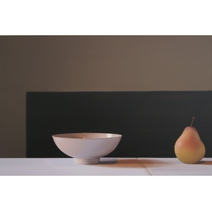 Jo Barrett Still Life With Pear and Bowl oil on canvas 80 x 120cm