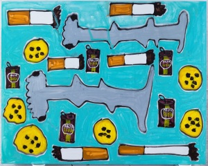 Katherine Bernhardt, Hammerheads, Tostones, Malta De India, and Cigarettes, 2015 Acrylic and spray paint on canvas 96 x 120 inches (243.84 x 304.80 cm). Courtesy of the artist and Canada, New York.