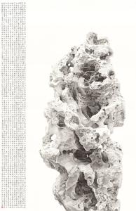 Liu Dan (b.1953) Taihu Rock of the Shaoyuan Garden 五 勺园太湖石 水墨本 跋:此米万勺园太湖石今存北京大学可博物乙未仲夏刘丹写于北京并 印:刘丹之印 Ink on paper 309.0cm by 199.0cm Inscribed: Ci Mi Wanzhong Shaoyuan Taihushi jin cun Beijing daxue Saikele bowuguan yiwei zhongxia Liu Dan xie yu Beijing bing shu. (This Taihu rock of the Shaoyuan Garden, which belonged to Mi Wanzhong, is now in the Sackler Museum, Peking University. Written and painted by Liu Dan in Beijing in mid-summer of the yiwei year [2015].) Artist's seal: Liu Dan zhi yin, (Liu Dan's seal)