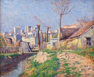 La Bievre près du Paris by MAXIMILIEN LUCE (1858 - 1941) Oil on canvas, signed and painted c.1890. Frame size: 22 x 25in / 57 x 64cm. Willow Gallery