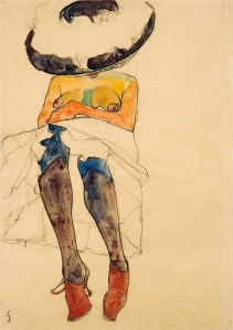Egon Schiele, Seated semi-nude with hat and purple stockings, 1910 Black crayon, gouache and watercolour on paper, 45×32cm. Courtesy of Wienerroither Kohlbacher.