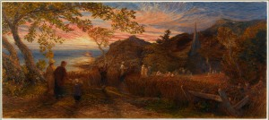 Samuel Palmer, Going to Evening Church,1874, Watercolour over pencil, heightened with bodycolour, 30×70cm. Courtesy of The Fine Art Society.