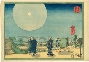 Utagawa Kuniyoshi, Returning from the Shin Yoshiwara by Moonlight, c. 1834, Color woodblock print, 27×38cm. Courtesy of Sebastian Izzard LLC.