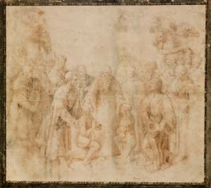 Raffaello Sanzio, called Raphael (Urbino 1483-1520 Rome) Saint Benedict receiving Maurus and Placidus black and red chalk, pen and brown ink, brown and grey wash, squared in black chalk, partially indented with stylus, an added section of paper at the left of the sheet 14½ x 16¼ in. (36.8 x 41.3 cm.)