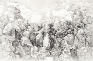 Liu Dan (b.1953) Redefining Pleats of Matter 縐褶被重新確定 Ink on paper 200.0cm by 301.0cm Signed: Jinling Liu Dan hua, (Painted by Liu Dan of Jinling [Nanjing])