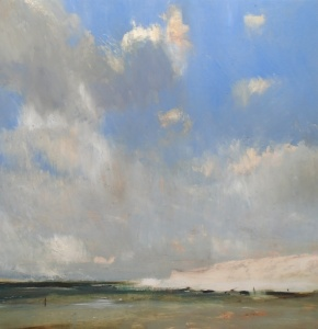 Tom Homewood Cliffs and Low Tide, Sussex oil on panel 40 x 40cm