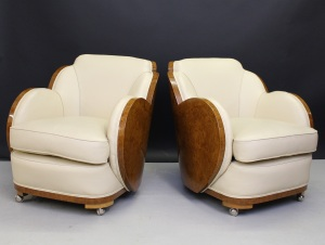 A pair of Art Deco cloud back armchairs. Jerone Markies