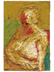 Frank Auerbach (b 1931) E.O.W. half-length Nude 1958 Oil paint on board 762 x 508 mm Private collection, courtesy of Eykyn Maclean, LP © Frank Auerbach, courtesy Marlborough Fine Art