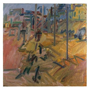 Hampstead Road, Summer Haze 2010 Oil paint on canvas 1222 x 1222 mm Private collection © Frank Auerbach, courtesy Marlborough Fine Art